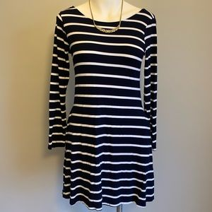 Beautiful Striped Navy Long Sleeve Dress